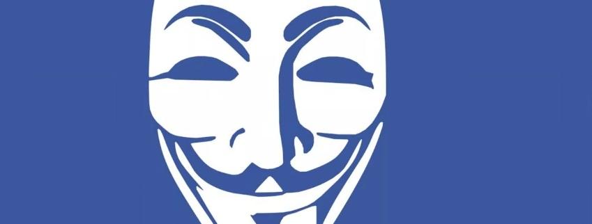 Masque anonymous sur fond bleu