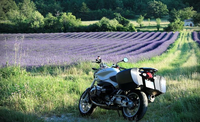 Une moto dans un champs